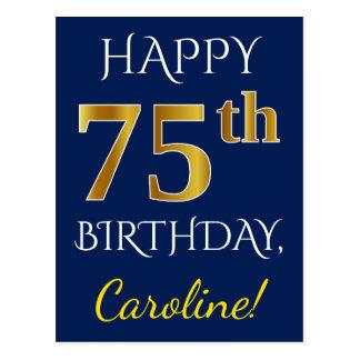 Postal 75.o cumpleaños del oro azul, falso + Nombre de