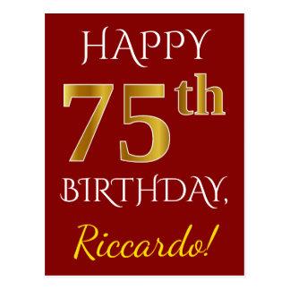 Postal 75.o cumpleaños del oro rojo, falso + Nombre de