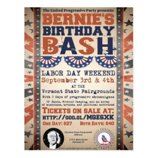 Postal 75.o golpe del cumpleaños de Bernie y festival del