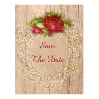 Postal 75.o marco de madera del rosa rojo del cumpleaños