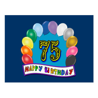 Postal 75.o Regalos de cumpleaños con diseño clasificado