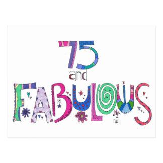 Postal 75 y 75.o cumpleaños fabuloso