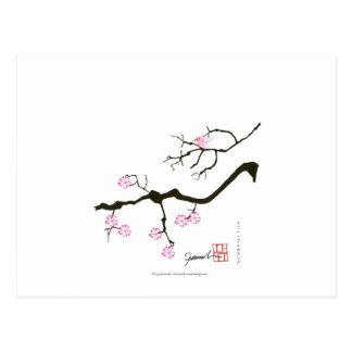 Postal 7 flores con el pájaro rosado, fernandes tony de