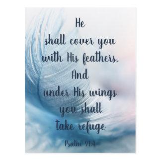 Postal 91:4 inspirado del salmo que eleva debajo de sus