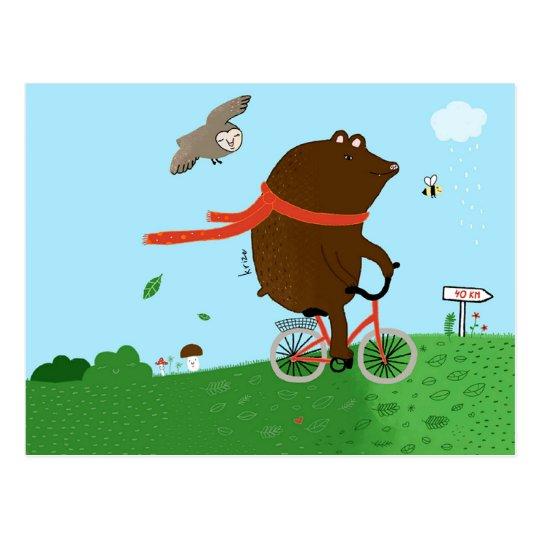 Postal A bear goes to the City, postcard