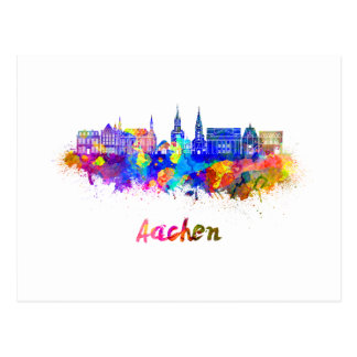 Postal Aachen skyline in watercolor