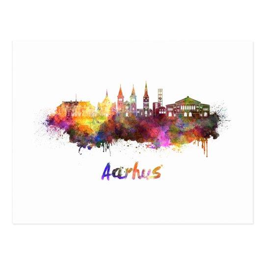 Postal Aarhus skyline in watercolor