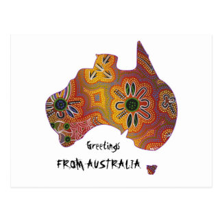 Postal aborigen de las ilustraciones