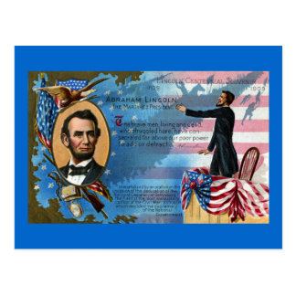 Postal Abraham Lincoln que da la dirección de Gettysburg