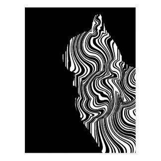 Postal Abstract Black and White Cat Swirl Monochroom