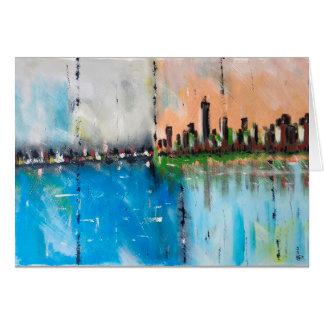 Postal abstracta de la pintura de la ciudad tarjeta de felicitación