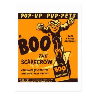 Postal Abucheo retro de Halloween del kitsch del vintage