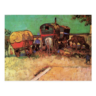 Postal Acampamento de gitanos con las caravanas de Van