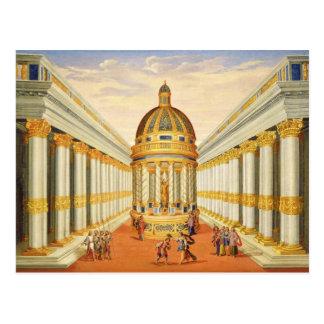 Postal Acto I, escenas VII y VIII: El templo de Baccus