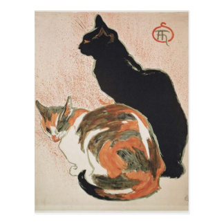Postal Acuarela - 2 gatos - Théophile Alejandro Steinlen