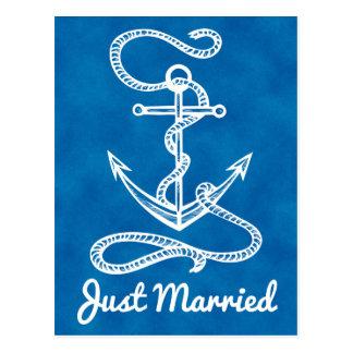 Postal Acuarela casada náutica del ancla de los azules