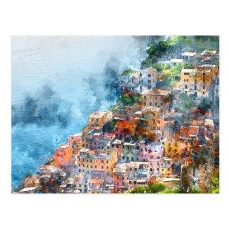 Postal Acuarela de Cinque Terre Italia