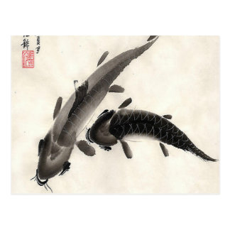 Postal Acuarela de los pescados de Koi