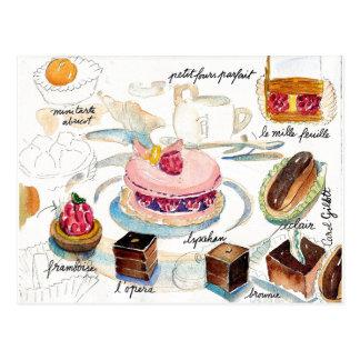 Postal Acuarela del bosquejo de los pasteles de París