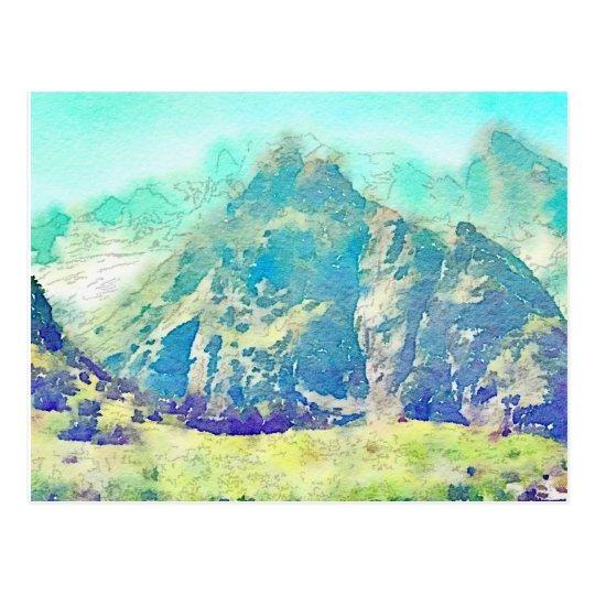 Postal Acuarela del paisaje de la montaña