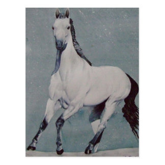 Postal Acuarela galopante del caballo