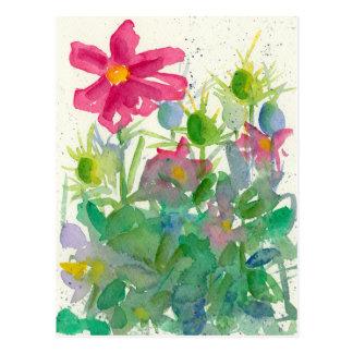 Postal Acuarela rosada del jardín de flores de Nigella