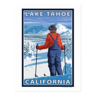 Postal Admiración del esquiador - el lago Tahoe,