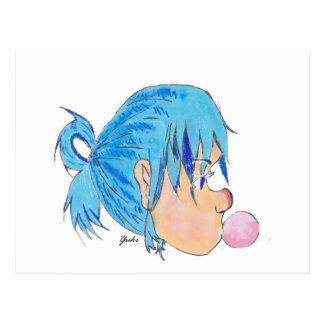 Postal Adolescente soplando una burbuja con la goma