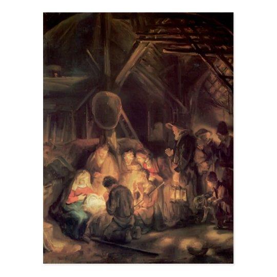 Postal Adoración de Rembrandt de los pastores