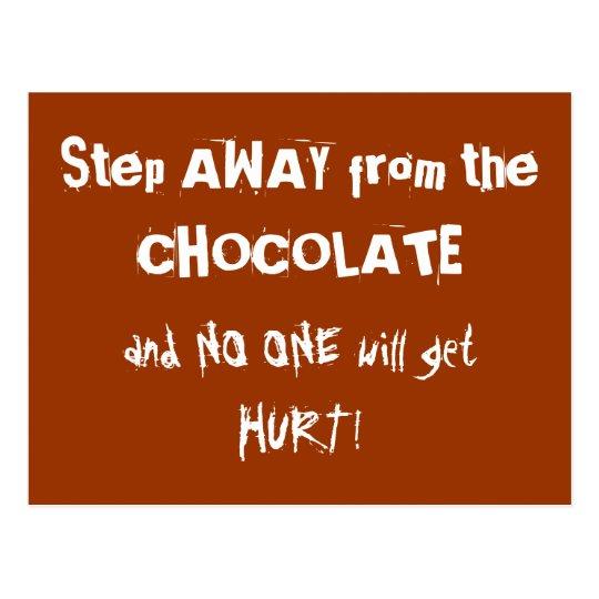 Postal Advertencia del chocolate de Chocoholic