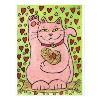 Postal Afortunado en amor: Neko rosado con los corazones
