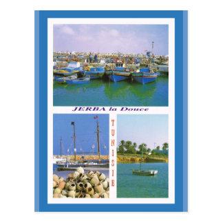 Postal África del Norte, Jerba, Túnez, barcos en el