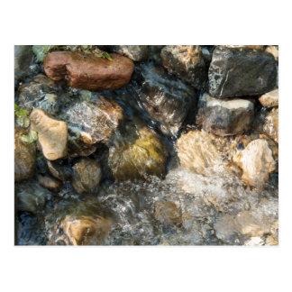Postal Agua que fluye sobre piedras en streambed
