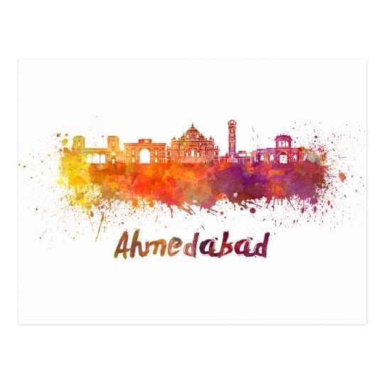 Postal Ahmedabad skyline in watercolor