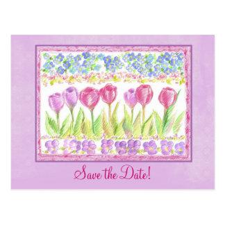 Postal Ahorre el dibujo de la flor del tulipán de la