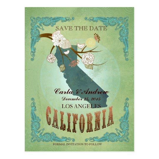 Postal Ahorre la fecha - mapa de California con los