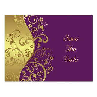 Postal Ahorre la fecha--Remolinos del oro y violeta roja