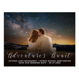 Postal Ahorre las aventuras de la fecha aguardan el boda