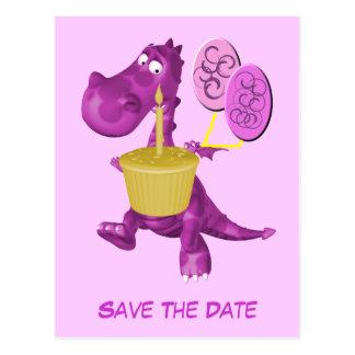 Postal Ahorre los globos púrpuras lindos del dragón de la