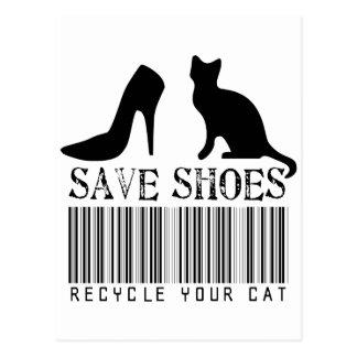 Postal Ahorre los zapatos reciclan su gato