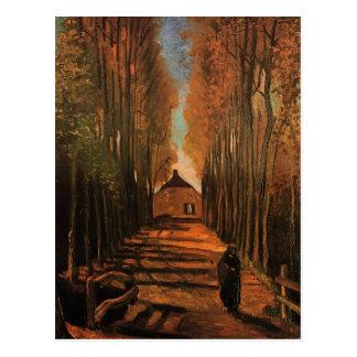Postal Álamos en bella arte de Van Gogh del otoño