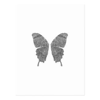 Postal Alas de la mariposa de la huella dactilar