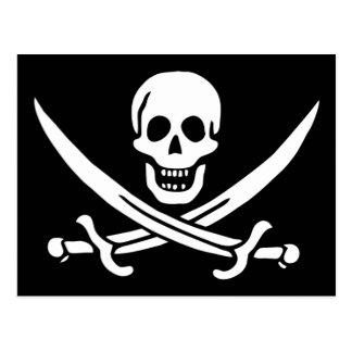 Postal alegre de la bandera de pirata de Rogelio