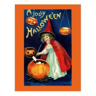 Postal alegre de la bruja del chica de Halloween