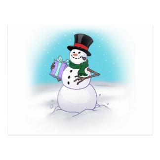 Postal alegre del muñeco de nieve