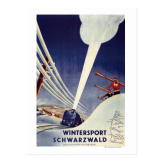 Postal Alemania - esquí en el bosque negro
