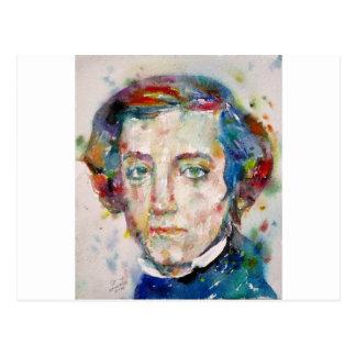 Postal Alexis de tocqueville - retrato de la acuarela