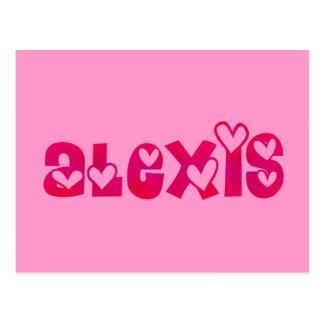 Postal Alexis en corazones