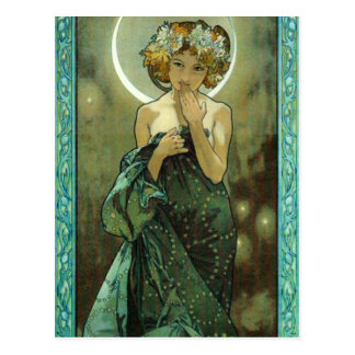 Postal Alfonso Mucha Clair De Lune Postcard