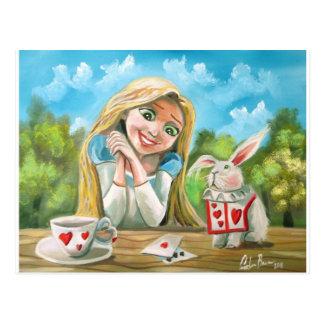 Postal Alicia en el país de las maravillas el conejo